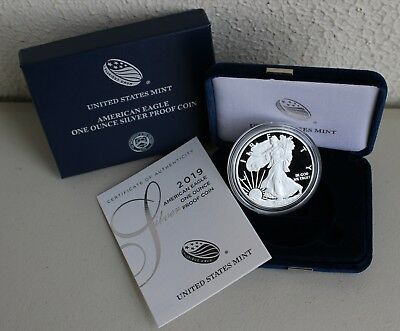 2019-W American Silver Eagle Proof Dollar with Original Packaging and COA