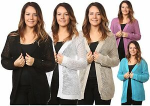 New-Plus-Ladies-Women-s-Cardigans-Mesh-Knitted-Full-Sleeves-Top-Jumpers-16-to-26