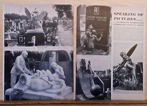 1948 2 1/2 page magazine article - Elaborate tombstones in Milan Italy cemetery - Deutschland - 1948 2 1/2 page magazine article - Elaborate tombstones in Milan Italy cemetery - Deutschland