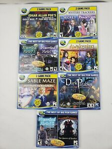 Big Fish Lot of 7 PC DVD-ROM Mysteries & Hidden Object Adventure Games
