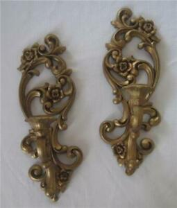 Pair-Of-Vtg-HOMECO-Syroco-Burwood-Wall-CANDLE-Sconces-4118-Hollywood-Regency