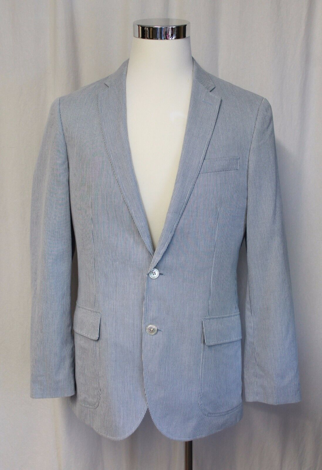 J CREW LUDLOW SPORTCOAT IN ENGINEER STRIPE COTTON blueE WHITE 40R NEW C0563