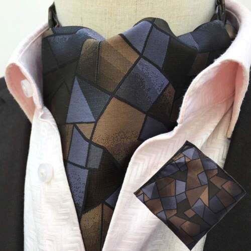 Men Classic Polka Dots Paisley Cravat Ascot Handkerchief Scarf Pocket Square Set