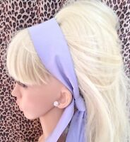 NEW PLAIN LILAC COTTON FABRIC HEAD SCARF HAIR BAND SELF TIE BOW 50s RETRO STYLE