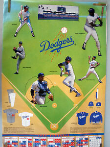 RARE DODGERS OREL STRAWBERRY BUTLER 1992 VINTAGE ORIGINAL MLB SCHEDULE POSTER