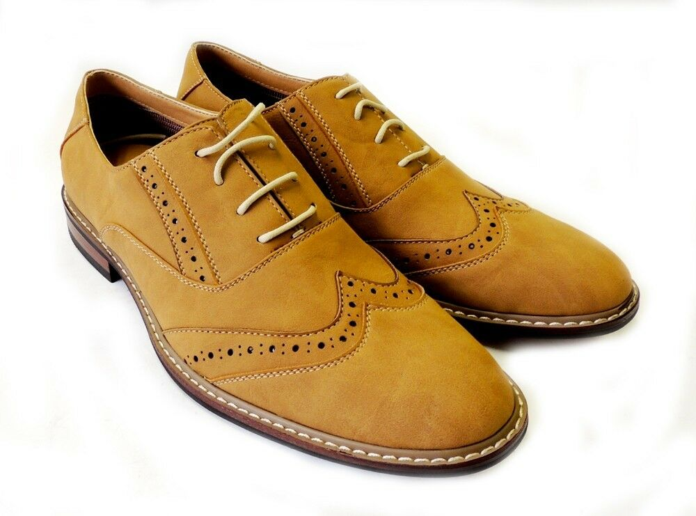 NEW FASHION MENS LACE UP WING TIP OXFORDS LEATHER LINED CASUAL DRESS SHOES  TAN