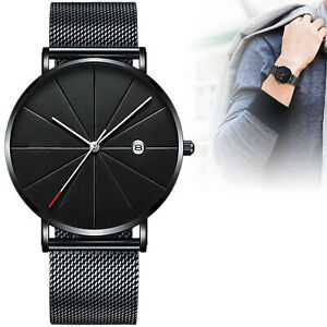 Men Watch Stainless Steel Strap Quartz Trendy Ultra Thin Minimalist Slim Mesh