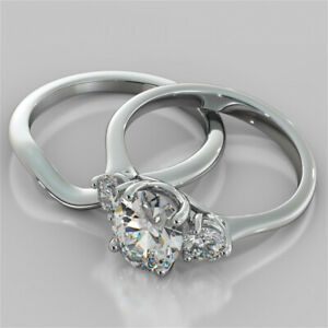2.60 Ct Oval Cut Moissanite Engagement Band Set 18K Real White Gold Ring Size 6