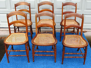 Image Is Loading 6 Vintage Wood Cane Seat Side Chairs Ladder
