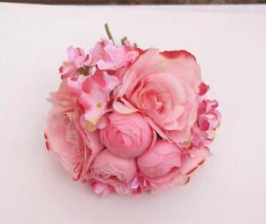 Bouquet-Fleurs-Artificielles-Hortensia-de-Soie-Decoration-Mariage-Rose