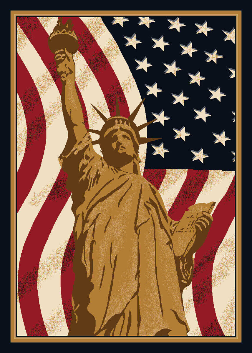 4x6 Milliken Lady Liberty 02000 Opal Novelty Flag Area Rug - Approx 3'10 x5'4