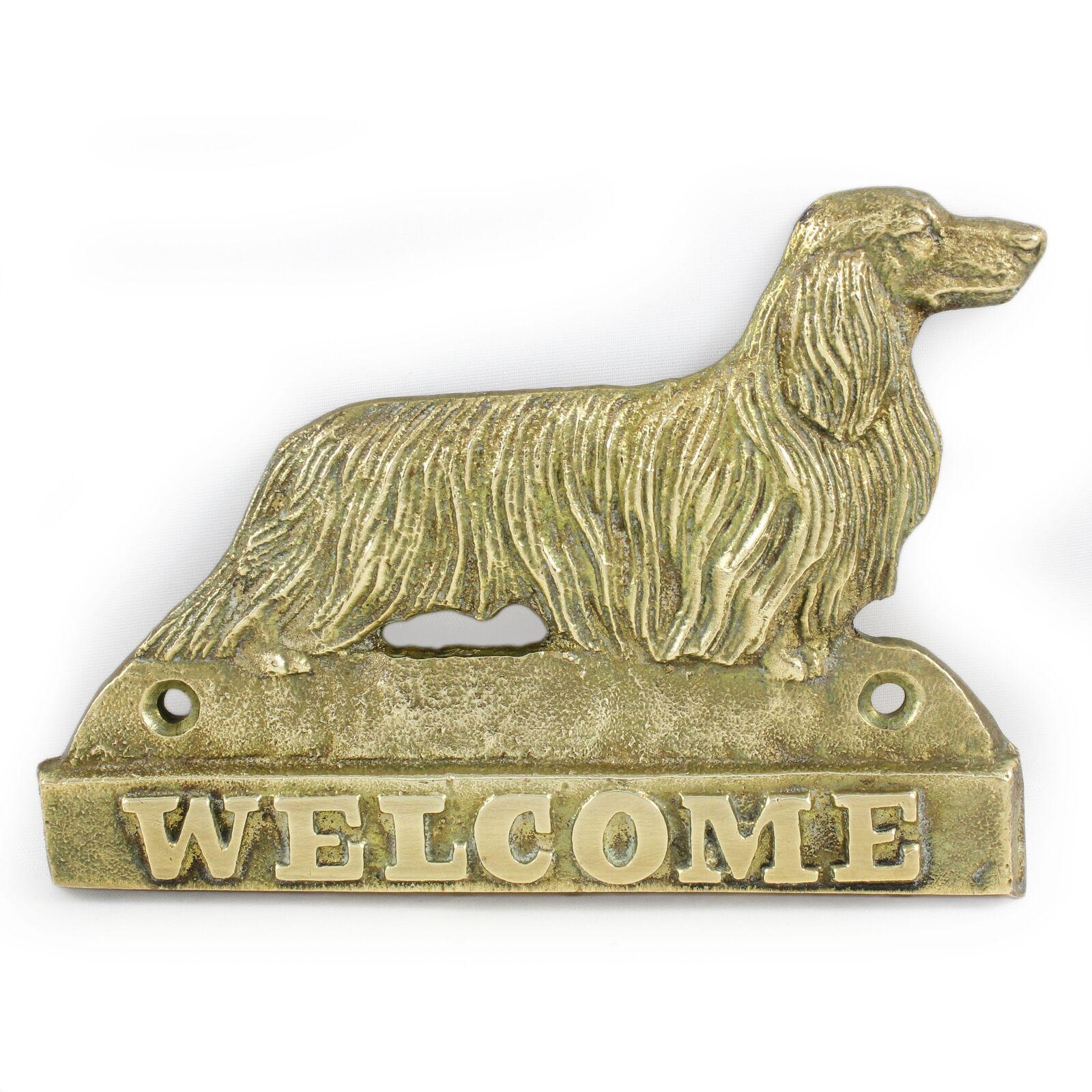 Bassotto a pelo lungo - lastra di ottone con l'iscrizione 'WELCOME' Art Dog IT