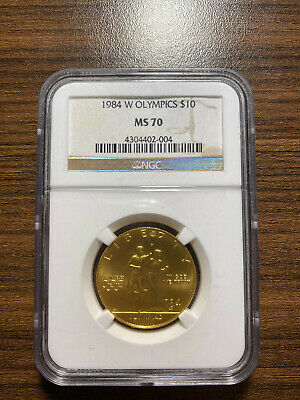NGC PF70 UCAM Castle Signed 1984 W US Gold $10 Olympic Commemorative Proof