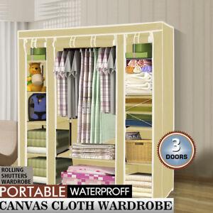 Large Portable Clothes Closet Grey Wardrobe Storage Organizer with Shelves AU