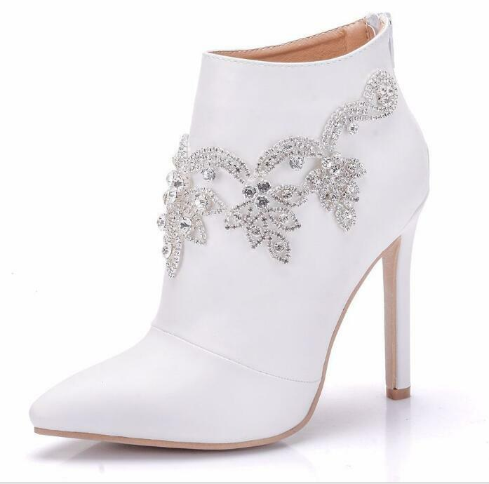 Rhinestone Wedding Party Womens Pointed Tow Slim High Heels Ankle Boots Womens