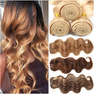 Ombre-Brazilian-8A-Remy-Human-Hair-THICK-3Bundles-300G-Weave-Straight-Body-Wave