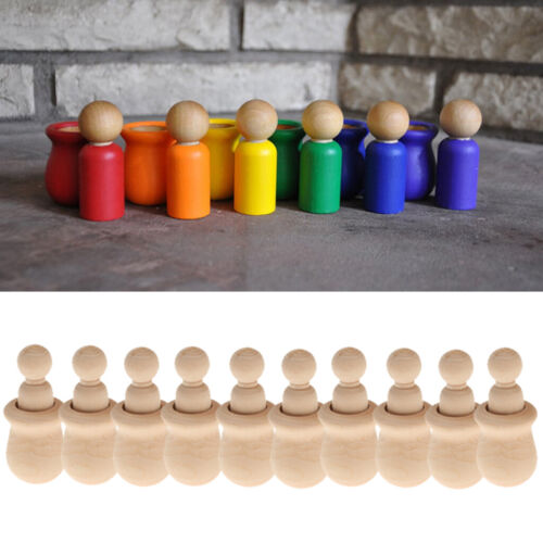 30 x Holz Peg Menschen Nesting Set Peg Puppen Crafts DIY Weihnachten