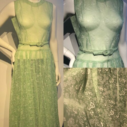 Vintage 50s SHEER Green Nylon Dress