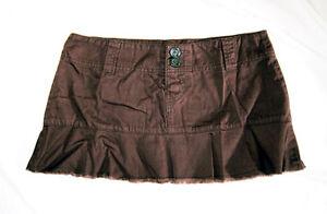 SHORT-Brown-mini-skirt-beachwear-surfer-UK-size-12-M-32-034-waist-11-034-long