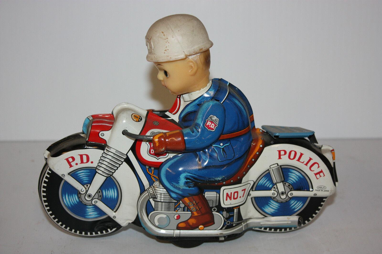 Juguete De Hojalata Motocicleta Haji diferencia de potencial ciclo No.7 hecha en Japón en década de 1960