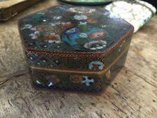Antique Cloisonné Cloisonne Box Very Fine Pill Trinket Snuff Excellent Hexagonal