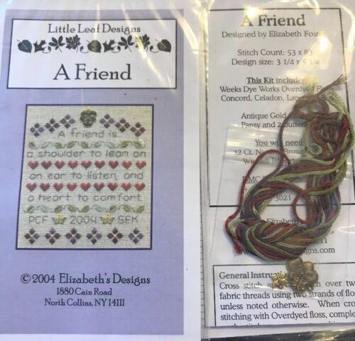 A Friend Shoulder to Lean On Cross Stitch Little Leaf Elizabeth's Designs Charm