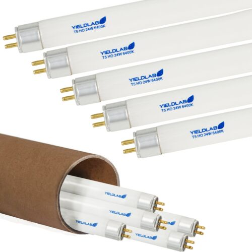 6400k Yield Lab 24w 2/' Foot T5 Fluorescent Veg Grow Light Bulbs 5 Pack