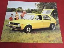1976 76 Volkswagen Rabbit Specification Sheet
