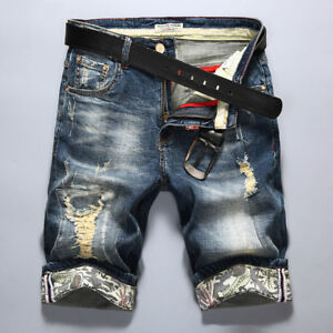 Mens Cotton Denim Shorts Distressed Ripped Jeans Casual Holes Pants Short Summer