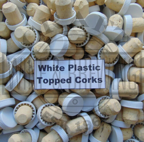 60 White Plastic Flange Topped Bottle Corks Cork Wine Liqueur /& Spirit Bottles
