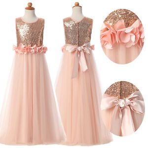 d61f897fbb5 Gold Flower Girl Princess Dress Pageant Kid Birthday Party Wedding ...