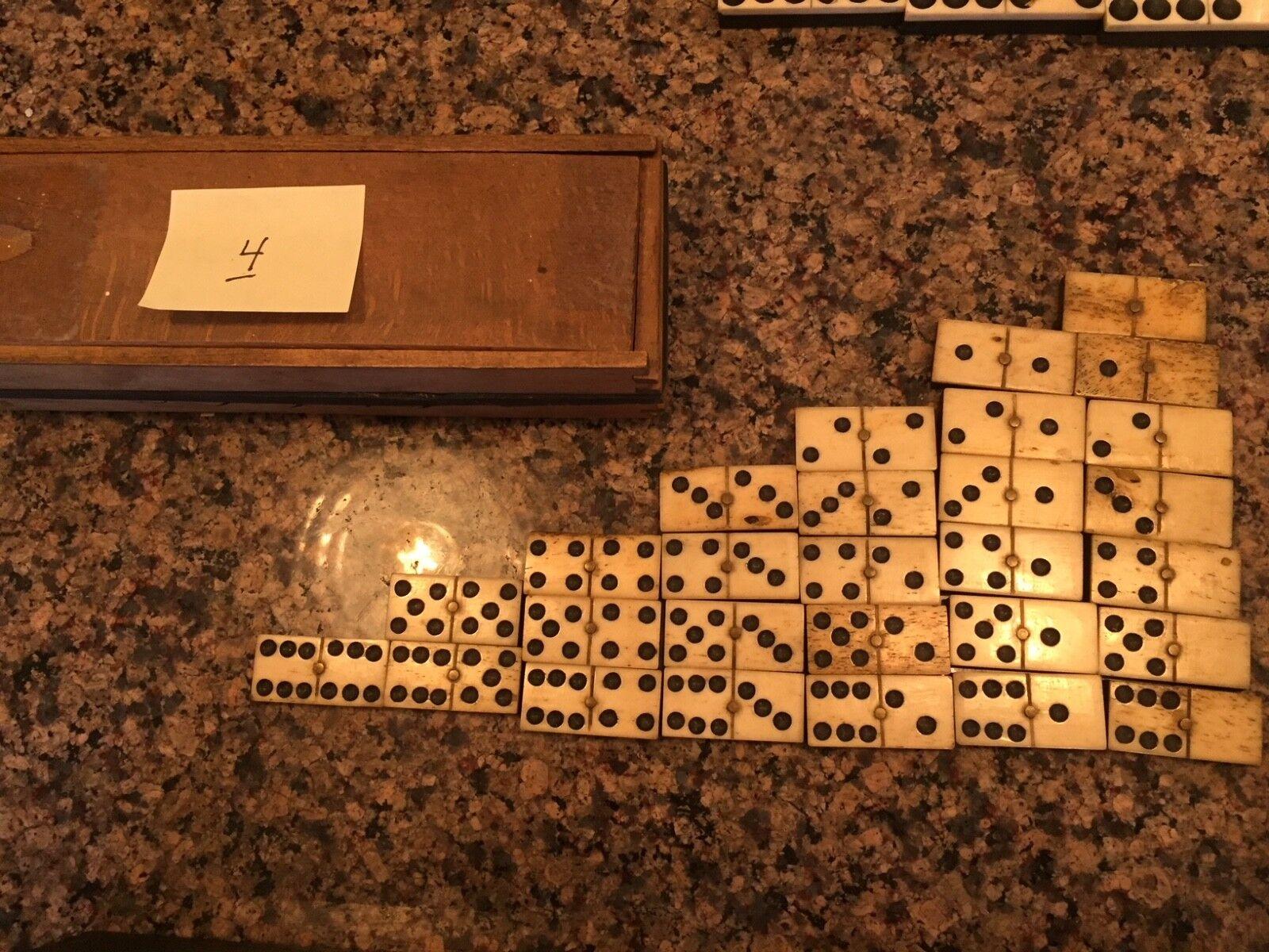 Antiguo Hecho A Mano De Hueso & Ébano Doble Doble Doble seis Domino Set Completo - 28 piezas, 19thC.  Descuento del 70% barato