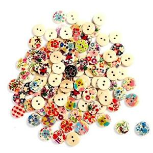 100PCS-15mm-Mixed-Round-Pattern-2-Holes-Wood-Buttons-Sewing-Scrapbooking-New-B3