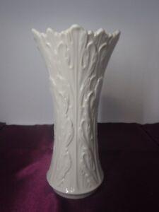 eBay & Details about Ivory Lenox Flower Vase Woodland Leaf Pattern USA Gold Stamp 8 1/2\