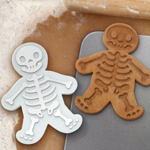 Christmas Gingerbread Man Cookie Cutter and Stamper Skeleton Baking Mould ToolSe