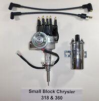 Chrysler Small Block 273-318-340-360 Black Cap Hei Distributor + Chrome 45k Coil
