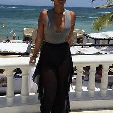 Women Beach Mesh Sheer Bikini Cover Up Swimwear Long Pant Trousers Summer Black