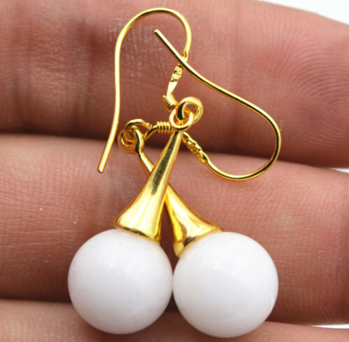 Beautiful Natural white Tridacna 925 Silver Gold-plated//Dangle Earrings