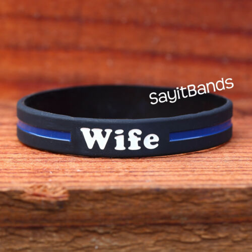 High Quality Debossed Color Filled Bracelet 1 Wife Thin Blue Line Wristband