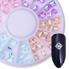 3d Nail Art AB Color Nail Rhinestone Square Flat Bottom Studs Decoration Wheel