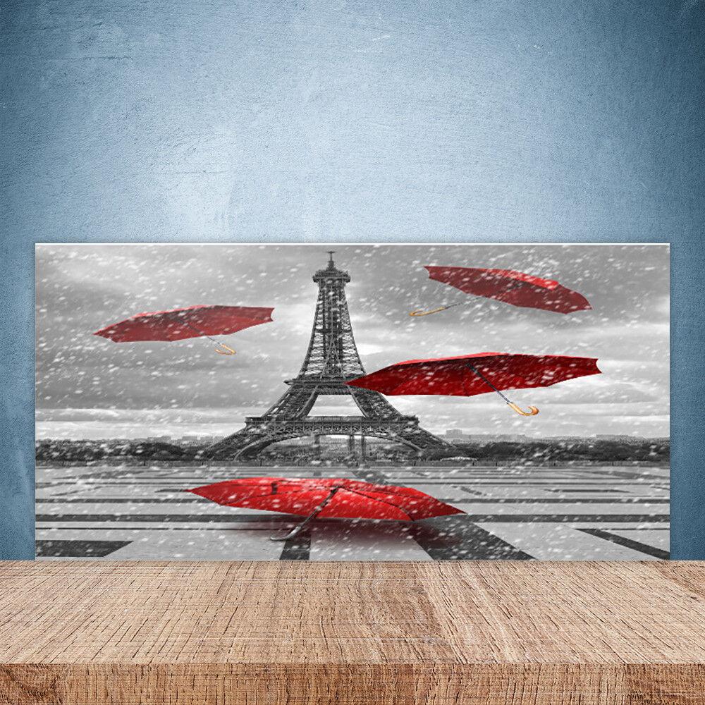 Crédence de cuisine en verre Panneau Paroi 100x50 Paris Parapluie Tour Eiffel