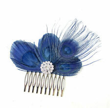 Navy Blue Silver Peacock Feather Hair Comb Fascinator 1920s Flapper Vintage 749