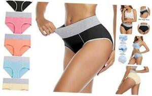 wirarpa Womens High Waisted Cotton Underwear Full Coverage Briefs Soft Colorful Ladies Panties Multipack