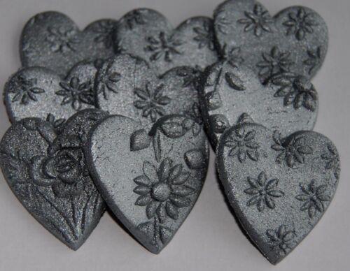26 SILVER  cupcake topper sugar paste edible HEART 3cm icing fondant Xmas