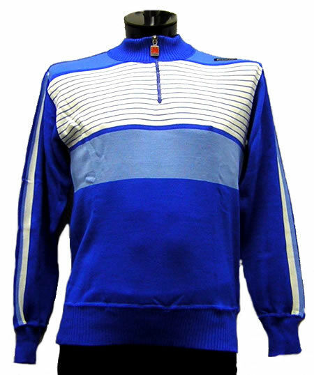 SANTINI Stripes CYCLING SWEATER bluee ITALIAN WOOL