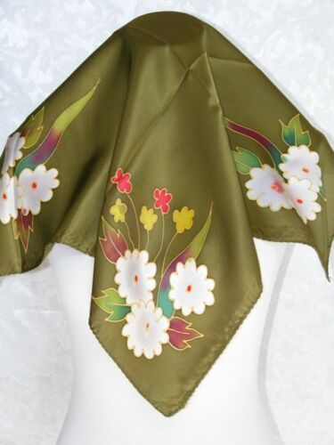 New 100/% Silk Scarf Art Painting Four Bouquet Olive Green