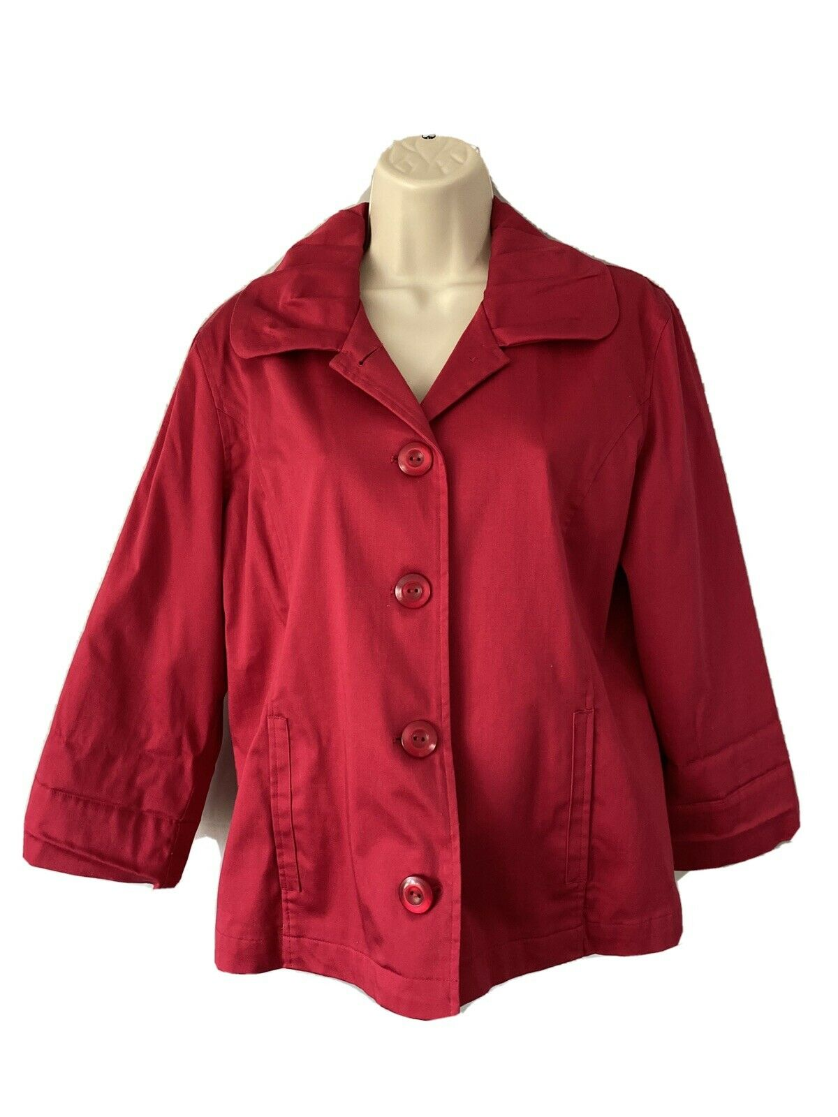 Chico's Womens SZ 1 Red 4 Button Front Jacket Lined 3/4 Sleeve Cotton Blend Coat