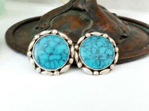 Large-Round-Mexican-Sterling-Silver-925-Turquoise-Mexico-Screw-Back-Earrings