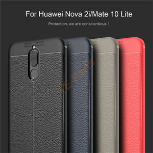 outlet store e4394 58334 Details about For Huawei Nova 2i/Mate 10 Lite Shockproof Soft Rubber  Leather Back Case Cover