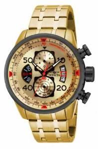 Invicta-Men-039-s-Watch-Aviator-Chrono-Gold-Tone-and-Black-Dial-Steel-Bracelet-17205